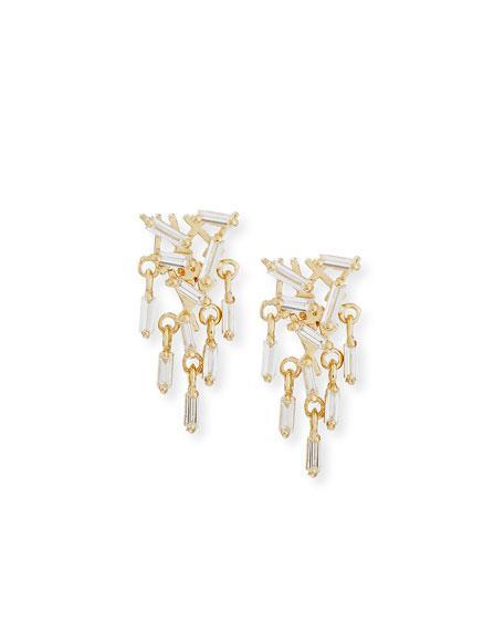 Diamond Baguette Cluster Drop Earrings in 18K Yellow Gold