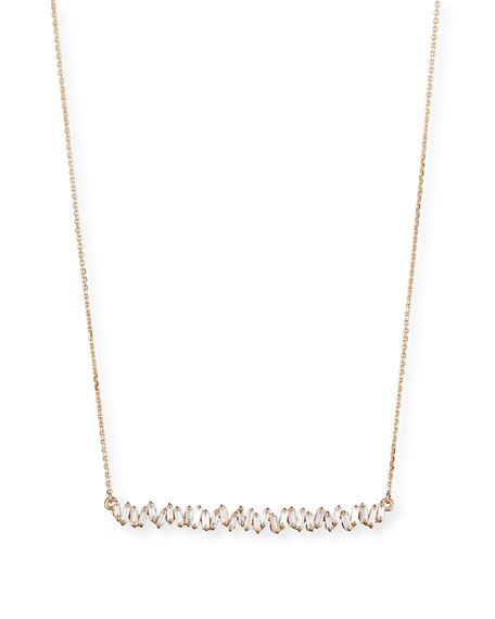 Suzanne Kalan 18K White Gold Diamond Baguette Necklace, 1.0 tdcw