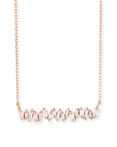 18K Rose Gold Diamond Baguette Necklace, 0.30 tdcw