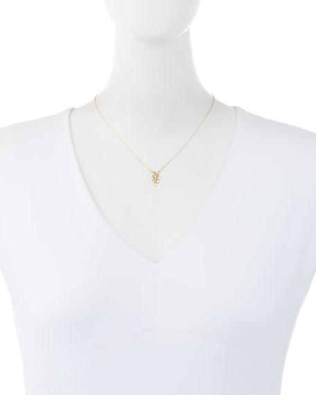 18K Yellow Gold Diamond Baguette Drop Necklace