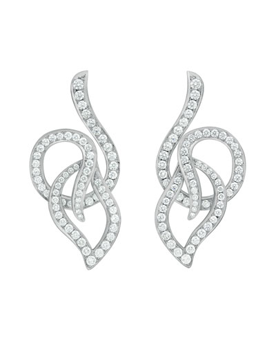 18k White Gold Pave Diamond Leaf Circle Drop Earrings