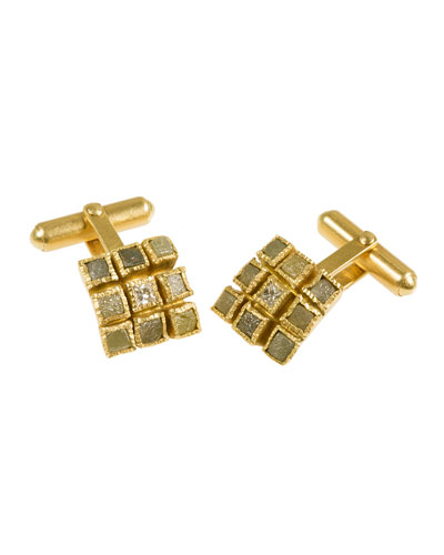 18K Yellow Gold & Diamond Cube Cuff Links