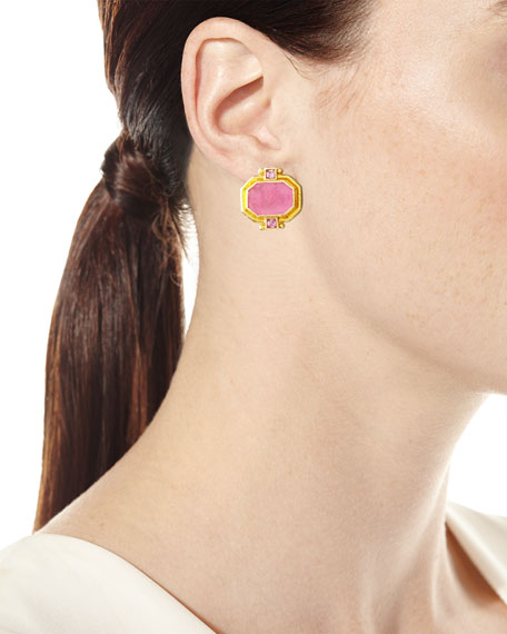 Cherub & Sea Horse Intaglio Clip/Post Earrings, Pink