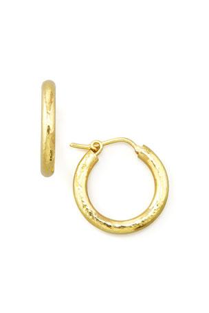 """Elizabeth Locke Small Hammered Gold Hoop Earrings, 3/4"""""""