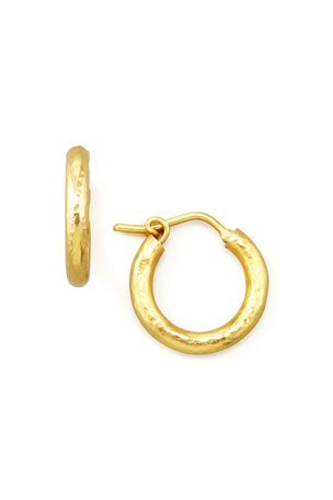 Elizabeth Locke Big Baby Hammered 19k Gold Hoop Earrings, 1/2""