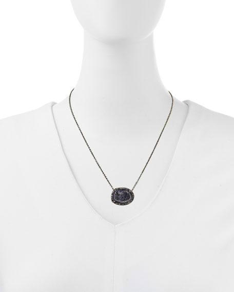 "Geode & Black Diamond Pendant Necklace, 17"""