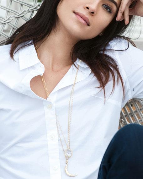 "Extra Large 18k Gold Carpe Diem Pendant Necklace, 30""L"