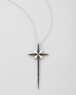 Stephen Webster Belle Époque 18kt Diamond Skinny Cross Pendant Necklace, Black/White