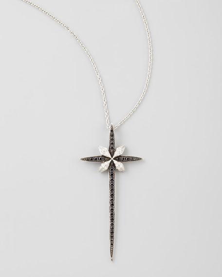 Belle Époque 18kt Diamond Skinny Cross Pendant Necklace, Black/White