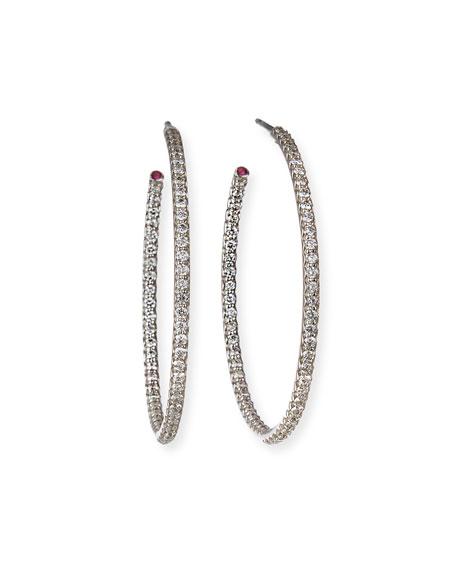 Roberto Coin 35mm White Gold Diamond Hoop Earrings,