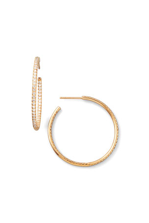 Roberto Coin 35mm Rose Gold Diamond Hoop Earrings, 1.1ct