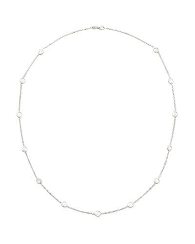 "24"" White Gold Diamond Station Necklace, 2.6ct"