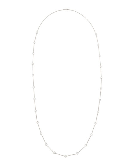 "42"" White Gold Diamond Station Necklace, 4.99ct"