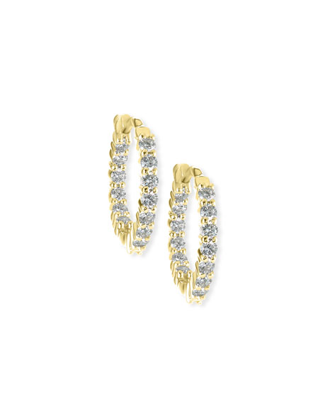Roberto Coin 35mm Yellow Gold Diamond Hoop Earrings,