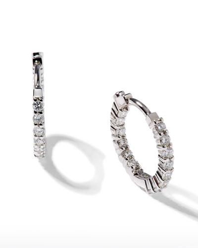 16mm White Gold Diamond Huggie Hoop Earrings, .76ct