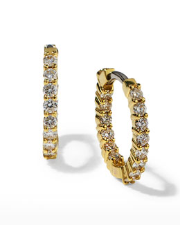Roberto Coin 16mm Yellow Gold Diamond Huggie Hoop Earrings, .76ct