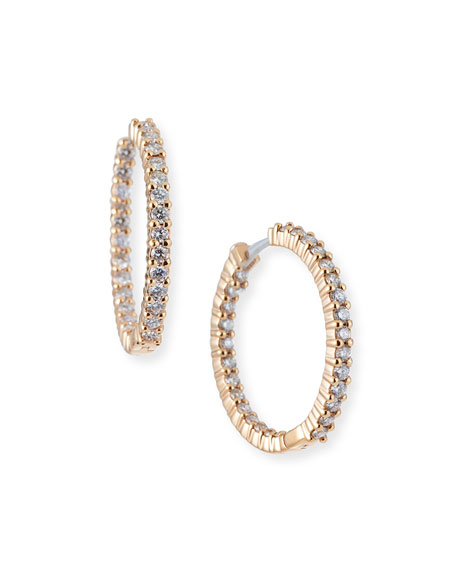 25mm Rose Gold Diamond Huggie Hoop Earrings, 1.53ct