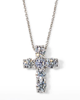 "Roberto Coin 17"" White Gold Diamond Cross Pendant Necklace, 1.06 TCW"