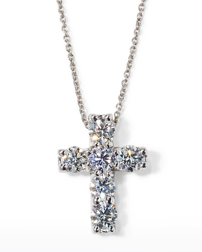"17"" White Gold Diamond Cross Pendant Necklace, 1.06 TCW"