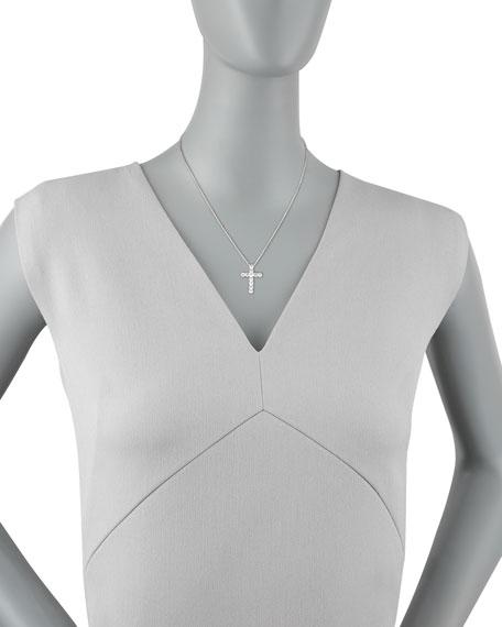 """16"""" White Gold Med Diamond Cross Pendant Necklace"""