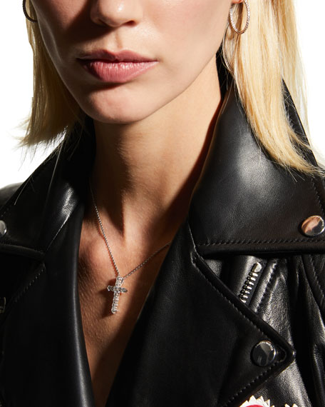 "16"" White Gold Lg Diamond Cross Pendant Necklace"