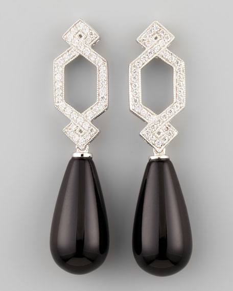 Short Diamond Crossover Earrings with Black Onyx Drop