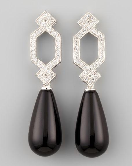 Short Diamond Crossover Earrings with Black Onyx Drop
