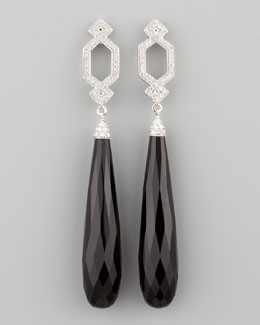 Ivanka Trump Long Diamond Crossover Earrings with Black Onyx Drop