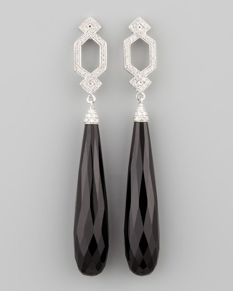 Long Diamond Crossover Earrings with Black Onyx Drop