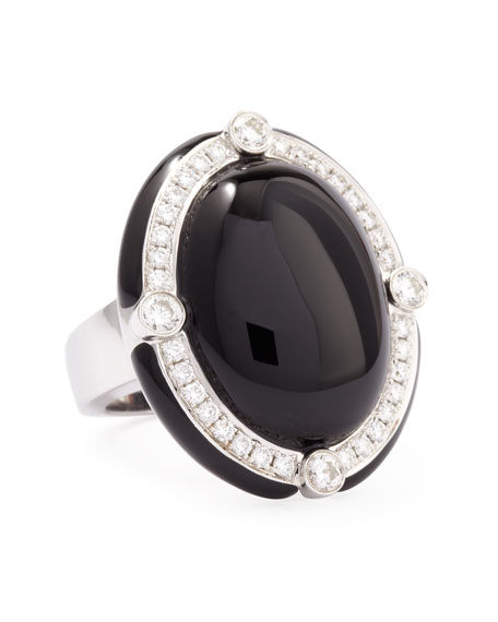 Black Onyx Cabochon Cocktail Ring with Diamonds