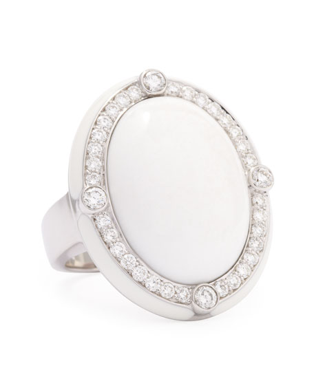 White Agate Quartzite Cabochon Cocktail Ring with Diamonds