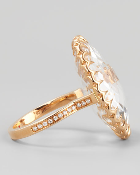 18k Rose Gold Rock Crystal Cocktail Ring, Sz 7