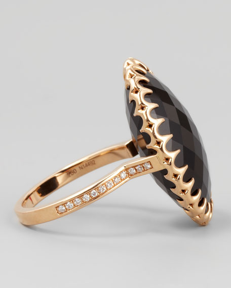 18k Rose Gold Onyx Cocktail Ring, Sz 6