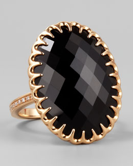 Ivanka Trump 18k Rose Gold Onyx Cocktail Ring, Sz 6