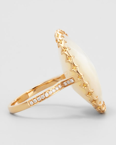 Diamond-Shank Mother-of-Pearl Ring
