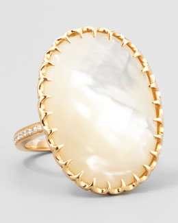 Ivanka Trump Diamond-Shank Mother-of-Pearl Ring