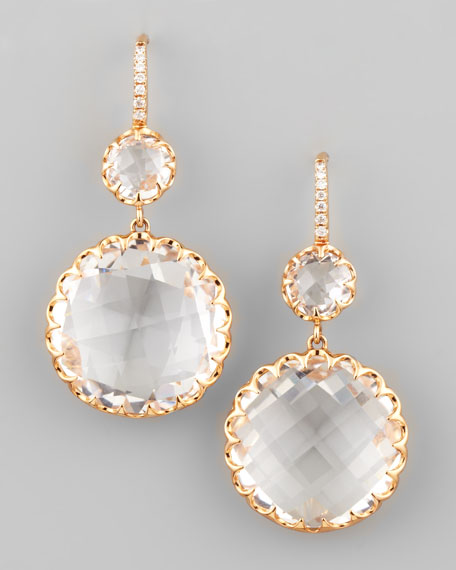 Rose Gold Rock Crystal Drop Earrings on Diamond French Wire
