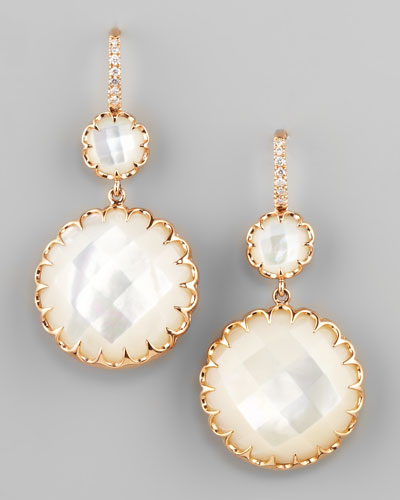 Ivanka Trump Rose Gold Mother-of-Pearl Drop Earrings on Diamond French Wire