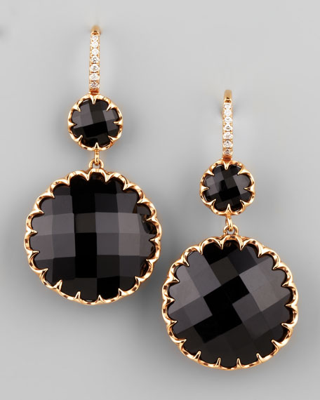 Rose Gold Black Onyx Drop Earrings on Diamond French Wire