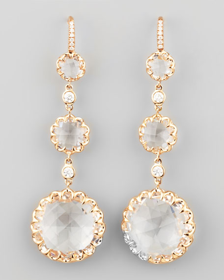 Long Rose Gold Rock Crystal and Diamond Drop Earrings on Diamond French Wire