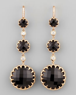 Ivanka Trump Long Rose Gold Black Onyx and Diamond Drop Earrings on Diamond French Wire