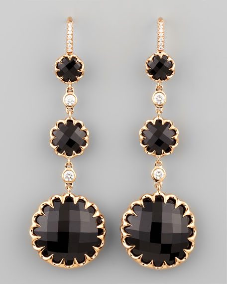 Long Rose Gold Black Onyx and Diamond Drop Earrings on Diamond French Wire