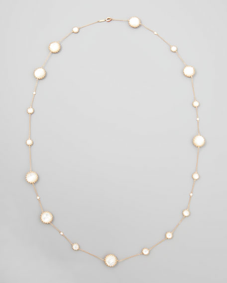 """Rose Gold Chain with Mother-of-Pearl and Diamonds, 36"""""""