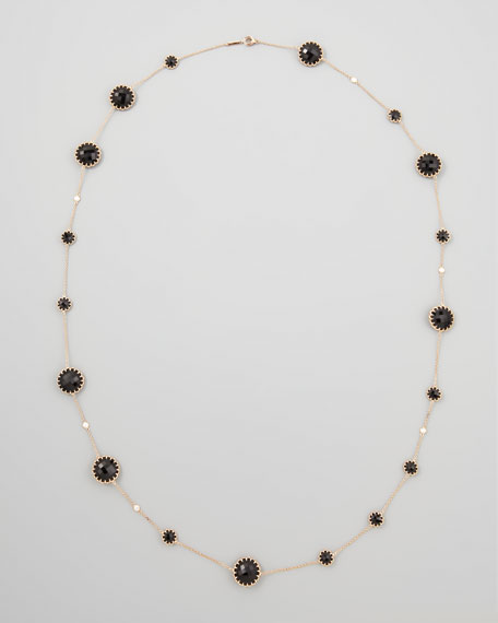 Rose Gold Chain with Black Onyx and Diamonds, 36""