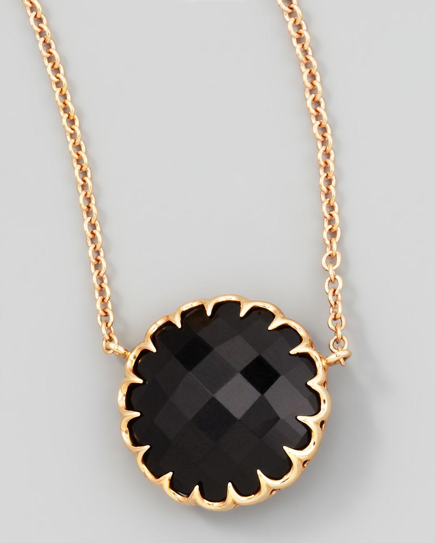 "Rose Gold Chain Black Onyx Pendant Necklace, 16""L"