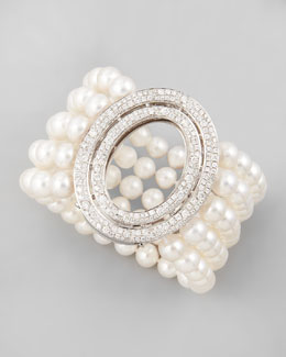 Ivanka Trump Five-Strand Freshwater Pearl Bracelet with Signature Oval Diamond Clasp