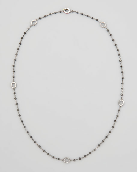 Black Diamond Briolette Necklace with Extra Small Diamond Signature Ovals, 18""