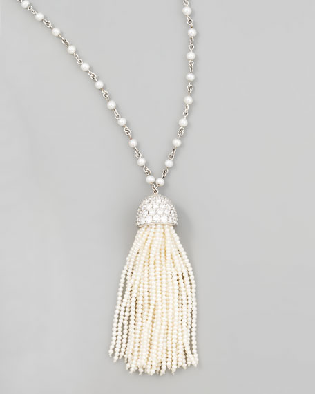 Seed Pearl Tassel Necklace, 36""