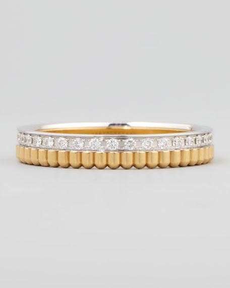 Quatre Follies 18k Yellow/White Gold Diamond Band Ring, Size 7
