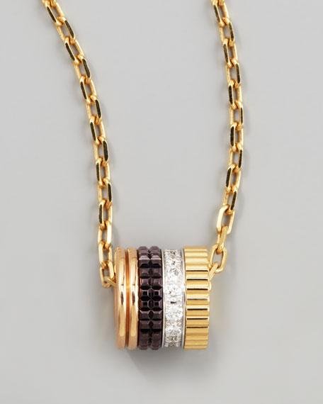 Quatre 18k Four-Color Gold Mini Ring Diamond Pendant Necklace